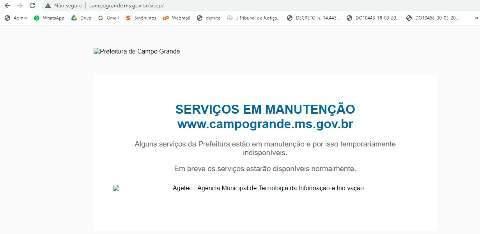 Sites da prefeitura de Campo Grande passam por manutenção e estão fora do ar