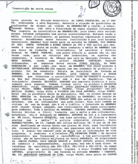 Trecho transcrito da carta anexado a ação judicial. (Foto: Reprodução processo)