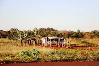 Barraco construído em área ocupada por índios na margem do anel viário (Foto: Helio de Freitas)