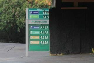 No Jardim Petrópolis, placa mostra gasolina a quase R$ 5,74.