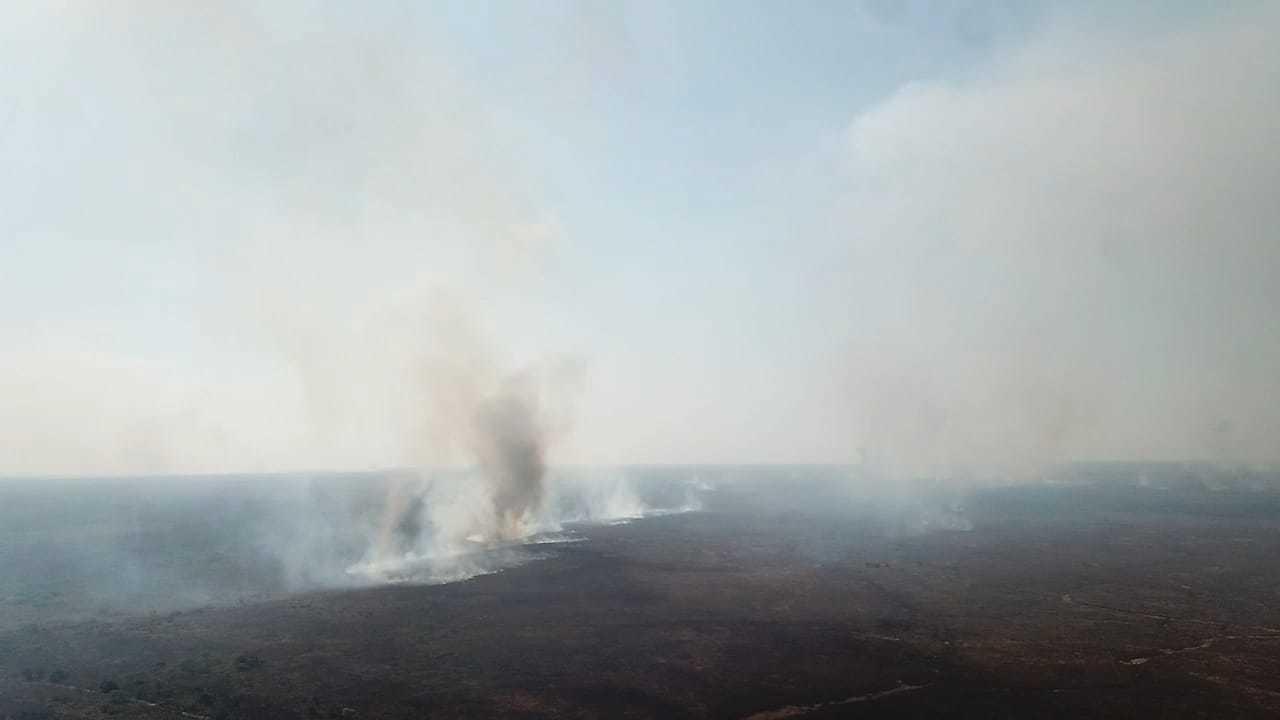 Foco de incêndio foi controlado ontem. (Foto: PMA)