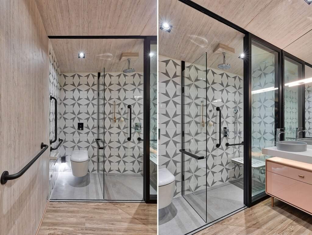 Barras de sustentação podem ser integradas já desde a decoração no projeto. (Foto: Rafael Rizzio/Flávia Ranieiri Casa Cor SP)