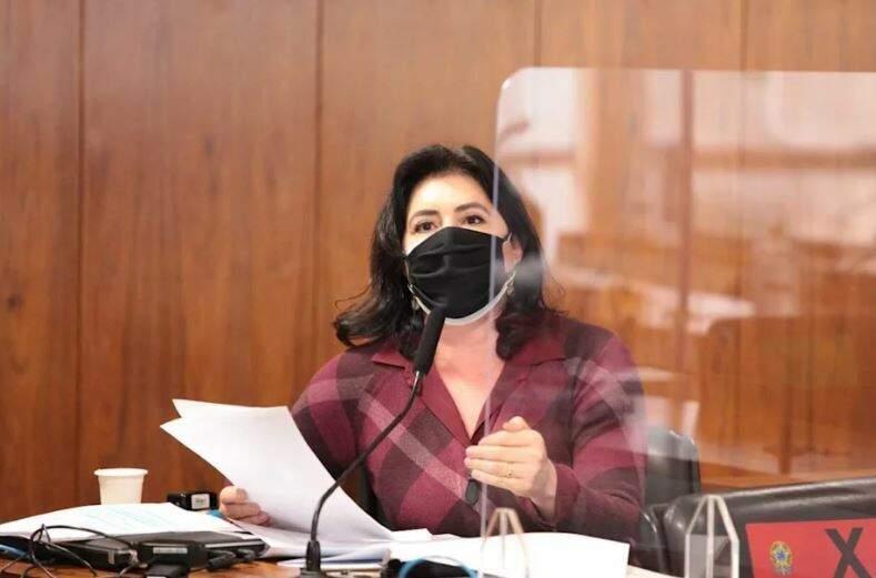 Senadora Simone Tebet durante trabalhos da CPI da covid. (Foto: Reprodução)