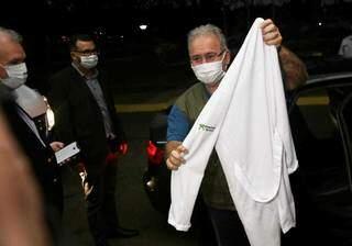 Secretário estadual, Geraldo Resende (à esq.) e ministro da Saúde, Marcelo Queiroga, em visita na semana passada (Foto: Paulo Francis/arquivo)