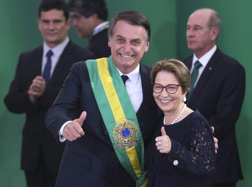 Na imagem, Tereza e o presidente, com Moro ao fundo, na cerimônia de posse em 2019 (Foto: Arquivo/Valter Campanato/Agência Brasil)