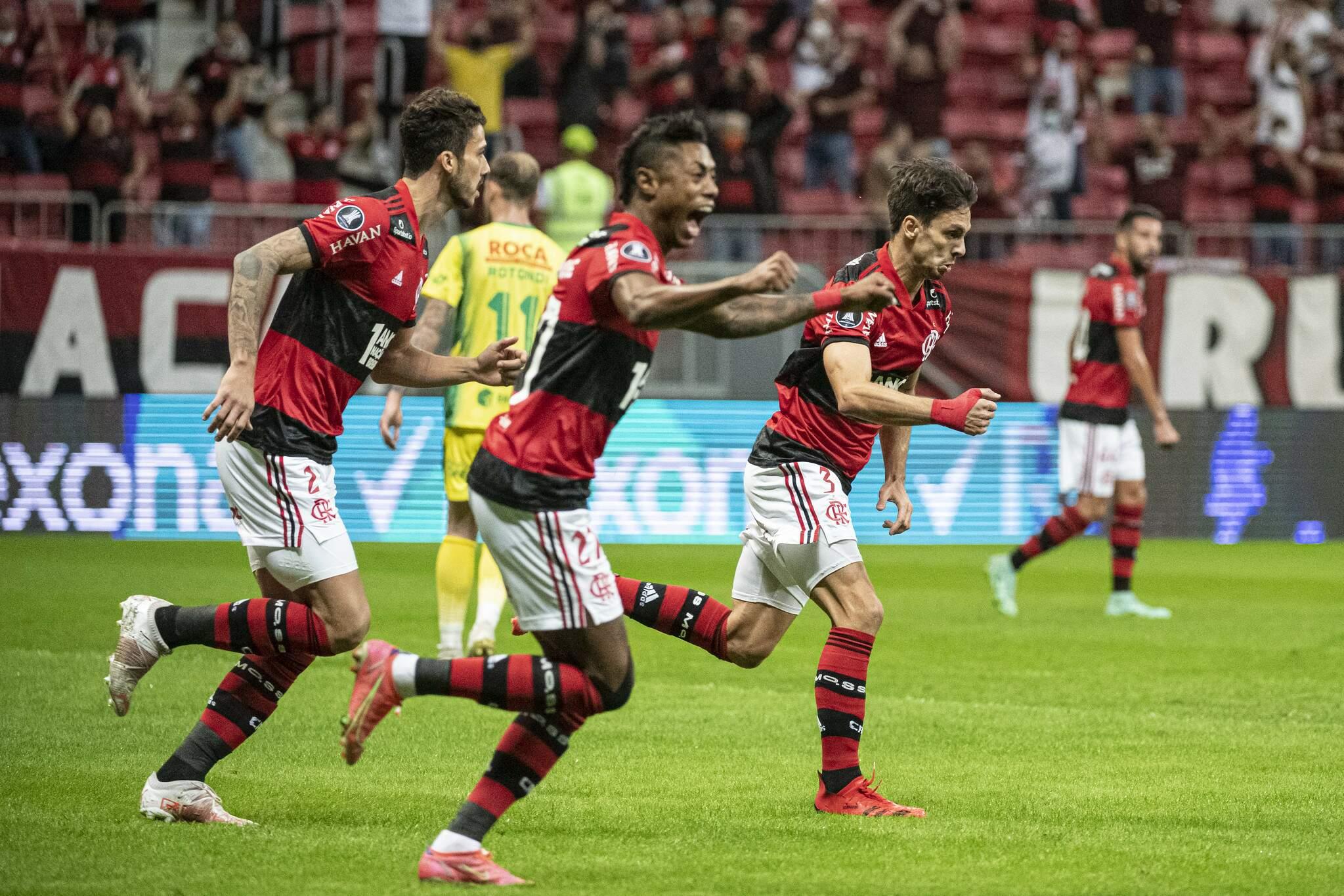 Comemoração dos jogadores do Flamengo durante a partida. (Foto: Alexandre Vidal / CRF)