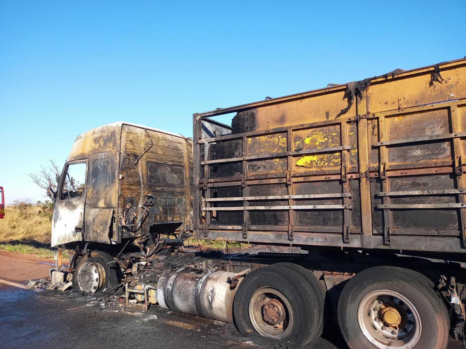 Cabine e parte da carroceria foram destruídas pelo fogo (Foto: Divulgação/Corpo de Bombeiros)