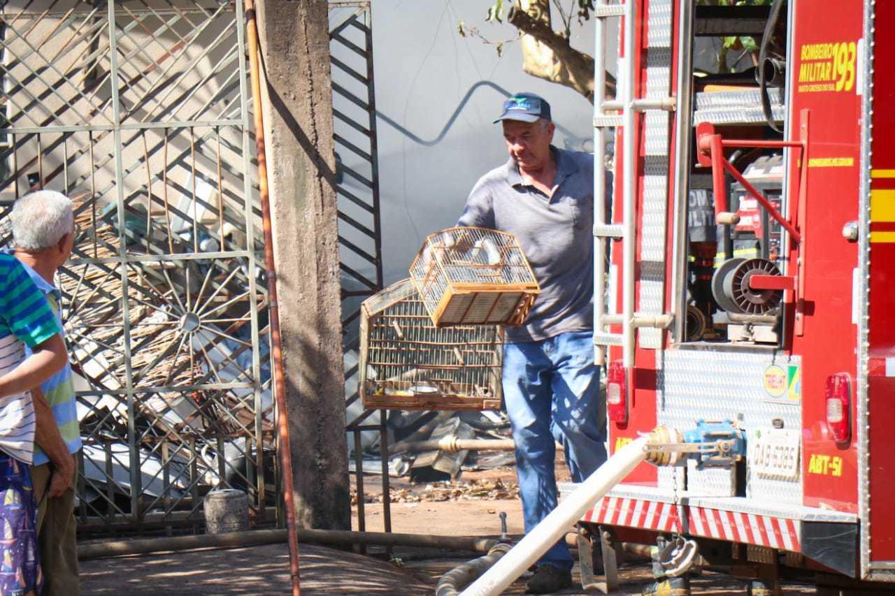 Gaiolas foram retiradas da casa após controle das chamas. (Foto: Henrique Kawaminami)