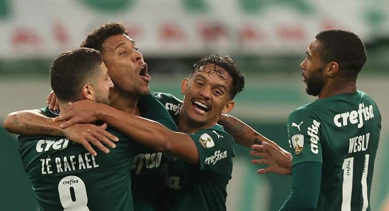 Marcos Rocha comemora gol pelo Palmeiras em duelo contra o São Paulo (Foto: Cesar Greco/Ascom/Palmeiras)