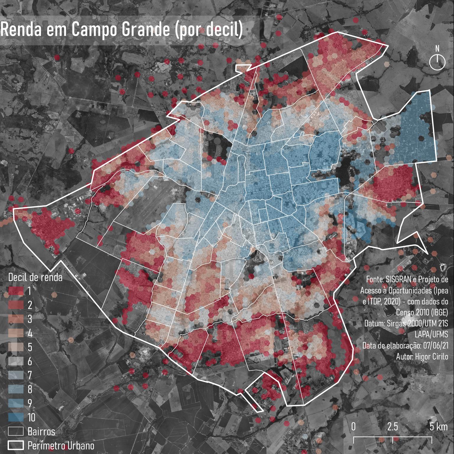Segundo o estudo, regiões com índice maior (azuis) são as mais ricas da cidade (Foto: Reprodução)