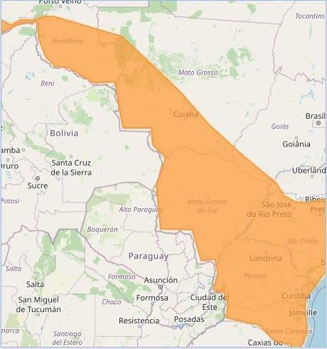 Toda área em laranja em alerta para queda brusca de temperatura (Arte: Inmet)