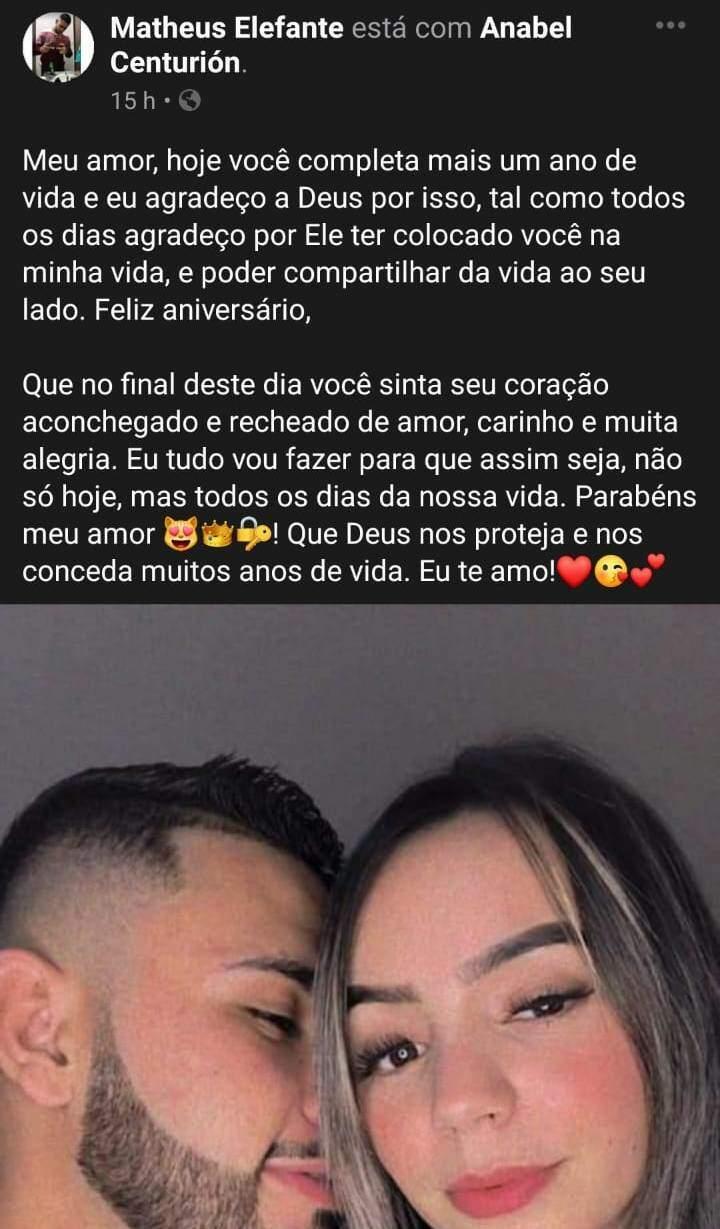 """Postagem de """"Matheus Elefante"""" para a namorada (Foto: Reprodução)"""