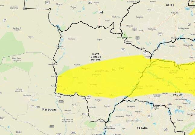 Área em amarela sobre parte de MS indica chance de geada até às 8h (Arte: Inmet)