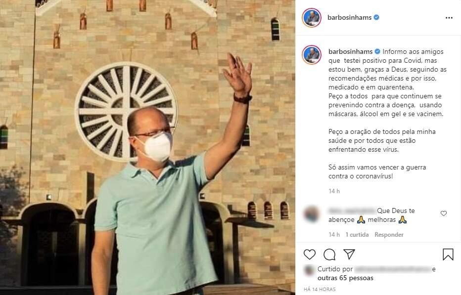 Print da publicação do deputado feita nas redes sociais informando da covid. (Foto: Reprodução/Instagram)