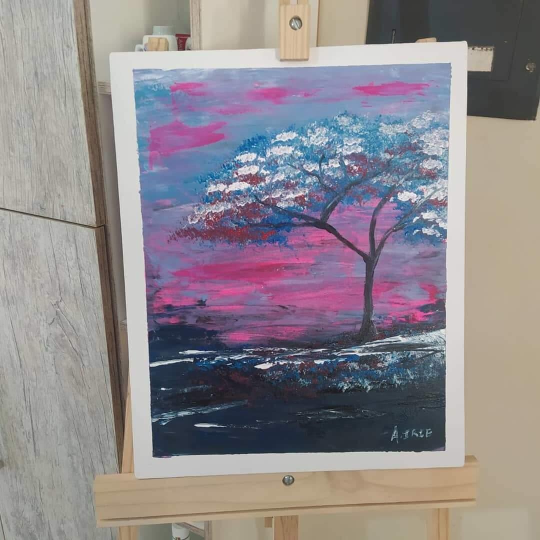"""Tela """"Árvore Azul"""", no tamanho 50cmx60cm, fica no valor de R$200. (Foto: Arquivo Pessoal)"""