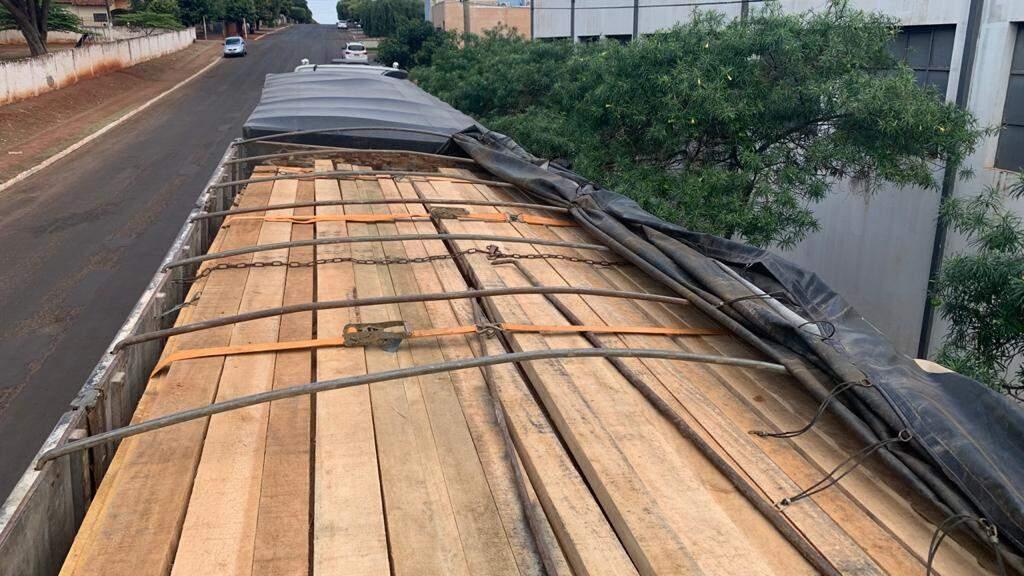 Caminhão estava lotado com 55 m³ de madeira sem documentação (Foto: Divulgação)