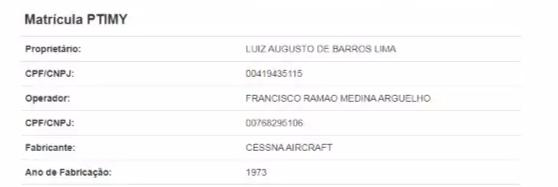 Registro na Anac mostra que avião apreendido ontem está no nome de corumbaense (Foto: Reprodução)
