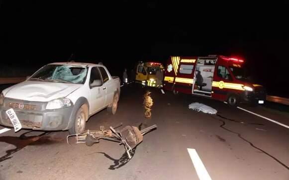 Ciclista morreu atropelado por carro oficial em Nova Alvorada do Sul. (Foto: Alvorada Informa)