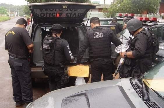 Operação da Polícia Civil em MS, em 2019, para cumprir mandados de prisão pendentes. (Foto/Arquivo)