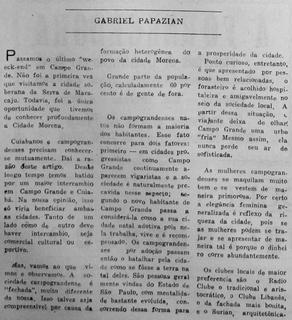 """Texto de Gabriel Papazian fala da cidade em 1966: """"sociedade fechada"""". (Foto: Reprodução)"""