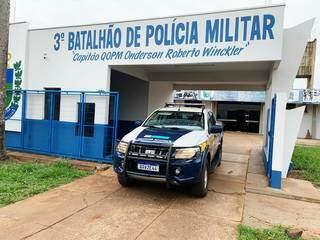 Prédio do 3º Batalhão da PM, em Dourados, para onde presos foram levados. (Foto: Divulgação)