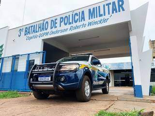 Quartel da Polícia Militar, em Dourados; três PMs da cidade foram presos hoje. (Foto: Divulgação)