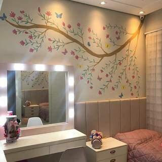 Mural feito em um quarto infantil. (Foto: Arquivo Pessoal)