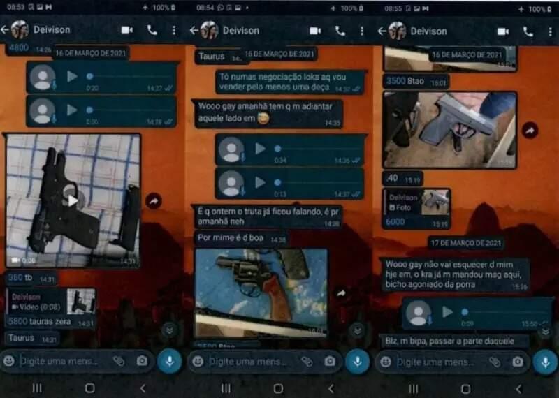 Conversas entre Jonatan e o PM Dayvison sobre venda de armas. (Foto: Reprodução)
