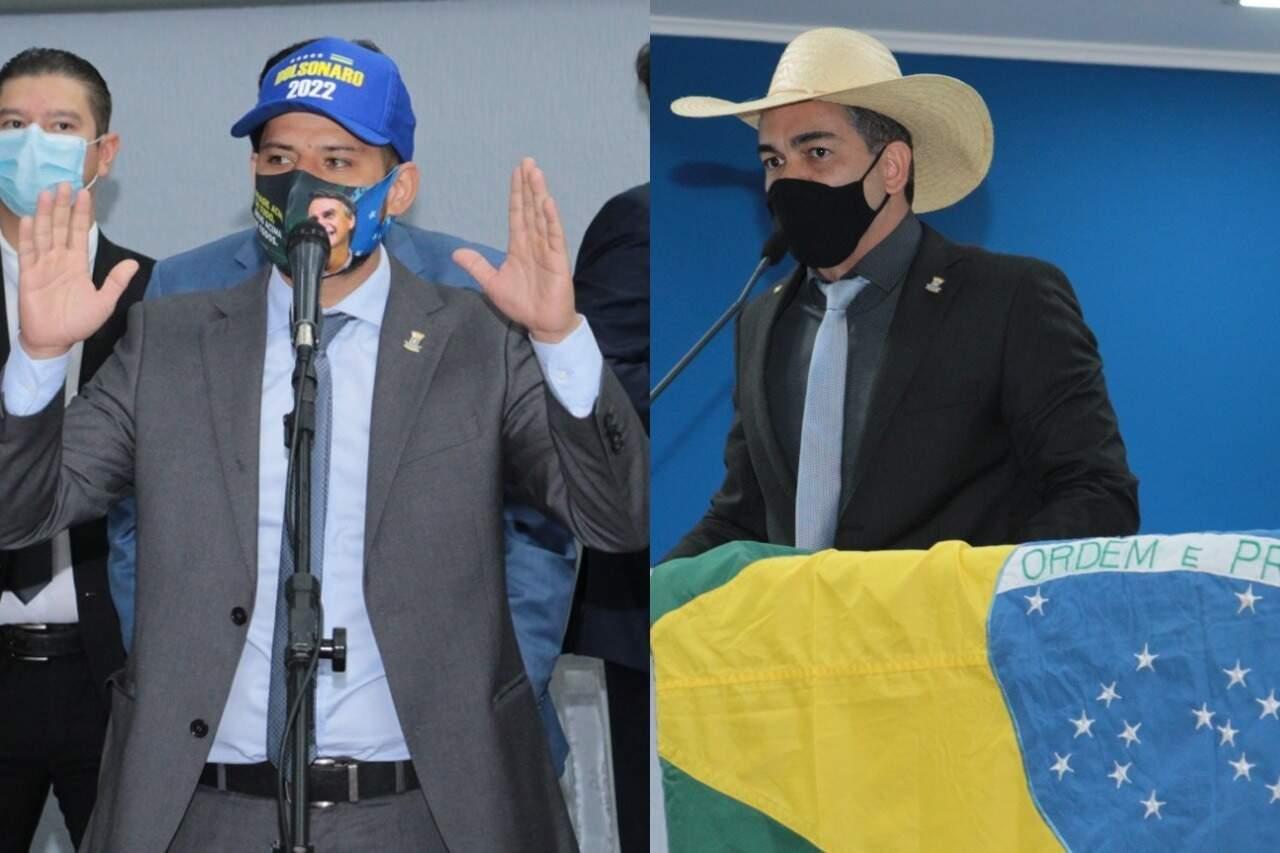 Tiago de boné e Sandro de chapéu durante sessões da Câmara. (Foto: Izaias Medeiros/CMCG)