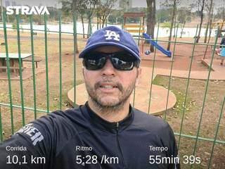 Registro em aplicativo de corrida mostra Renato após correr 10,1 km. (Foto: Arquivo Pessoal)