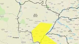 Área em amarelo indica chance de temporal em MS. (Arte: Inmet)