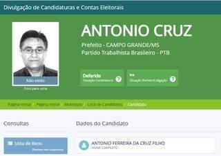 Candidato do partido, na época, era o médico Antônio Cruz. (Foto: Reprodução TSE)