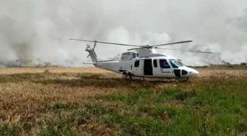 Helicóptero e mais 32 militares reforçam luta contra o fogo no Pantanal