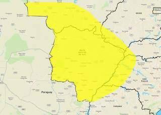 Área em amarelo aponta para onda de calor em todo MS (Arte: Inmet)