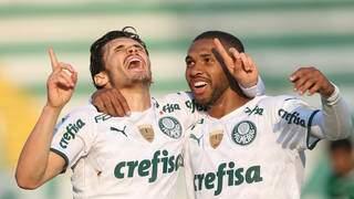 Comemoração dos jogadores do Verdão com a vitória desta noite. (Foto: PalmeirasFC)