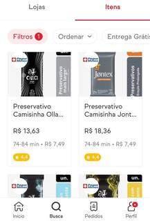 Preservativo pode ser encontrado na sessão de mercado ou na busca do aplicativo. (Foto: Jéssica Fernandes)