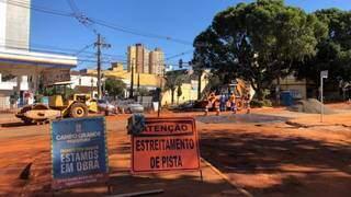 Interdição em trecho da rua Rui Barbosa. (Foto: Prefeitura de Campo Grande)
