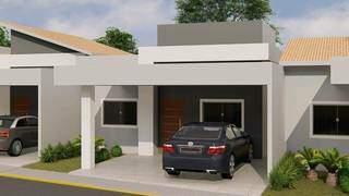 Casas têm garagem coberta. (Foto: Divulgação)