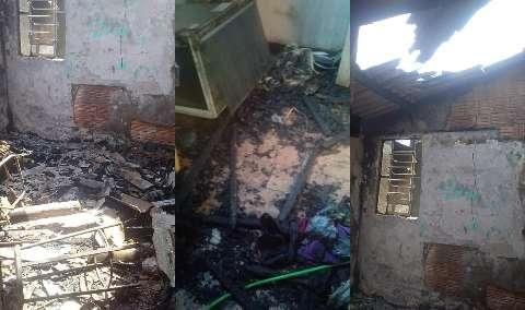 Com 3 crianças, família tem casa destruída por incêndio e perde tudo
