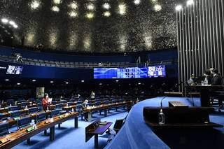 Simone Tebet durante sessão no Senado, nesta quarta-feira (Foto: Waldemir Barreto/Agência Senado)