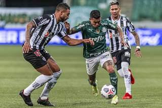 Dudu durante jogo entre Palmeiras e Atletico Mineiro, partida valida pela ida da semifinal da Copa Libertadores da America 2021, na Arena Palmeiras, zona oeste da cidade de Sao Paulo.(Foto: Anderson Lira/AgênciaEstado)