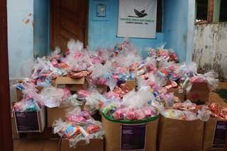 Kits foram monstados após campanha arrecadar mais de 5 mil produtos de higiene pessoal (Foto: Divulgação)