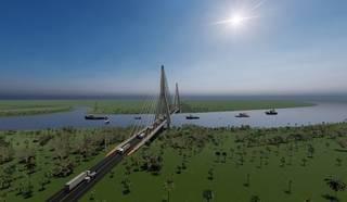 Projeto da ponte que ligará Porto Murtinho ao distrito do País vizinho. (Foto: Divulgação)