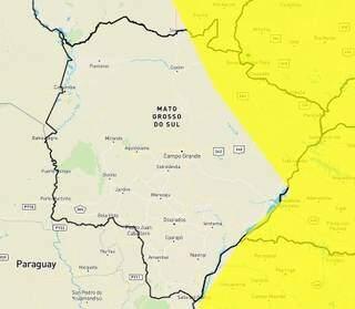 Inmet emitiu alerta amarelo para chuvas intensas no extremo leste de MS (Foto: Reprodução)