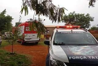 Polícia Militar e Samu estiveram no local do crime. (Foto: Reprodução/Dourados News)