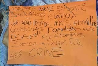 """Grupo contrário aos """"Justiceiros"""" esclarece em recado que irá revidar mortes. (Foto: Direto das Ruas)"""