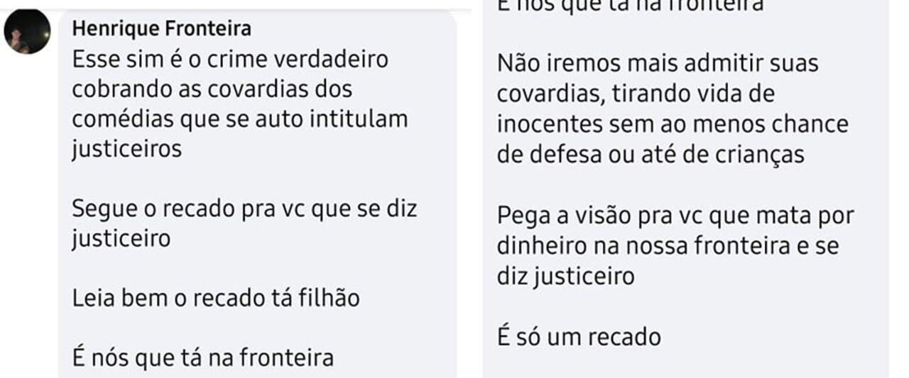 """Postagem de suposto integrante de grupo rival dos """"Justiceiros"""". (Foto: Reprodução)"""