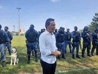 Prefeito de Campo Grande, Marquinhos Trad, durante evento na manhã desta terça-feira (28). (Foto: Caroline Maldonado)