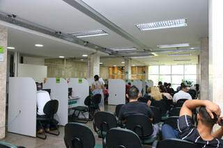 Recepção da sede da Funtrab, em Campo Grande. (Foto: Marcos Maluf)