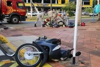 Acidente que matou jovem motociclista em abril deste ano em Campo Grande. (Foto: Kísie Ainoã/Arquivo)
